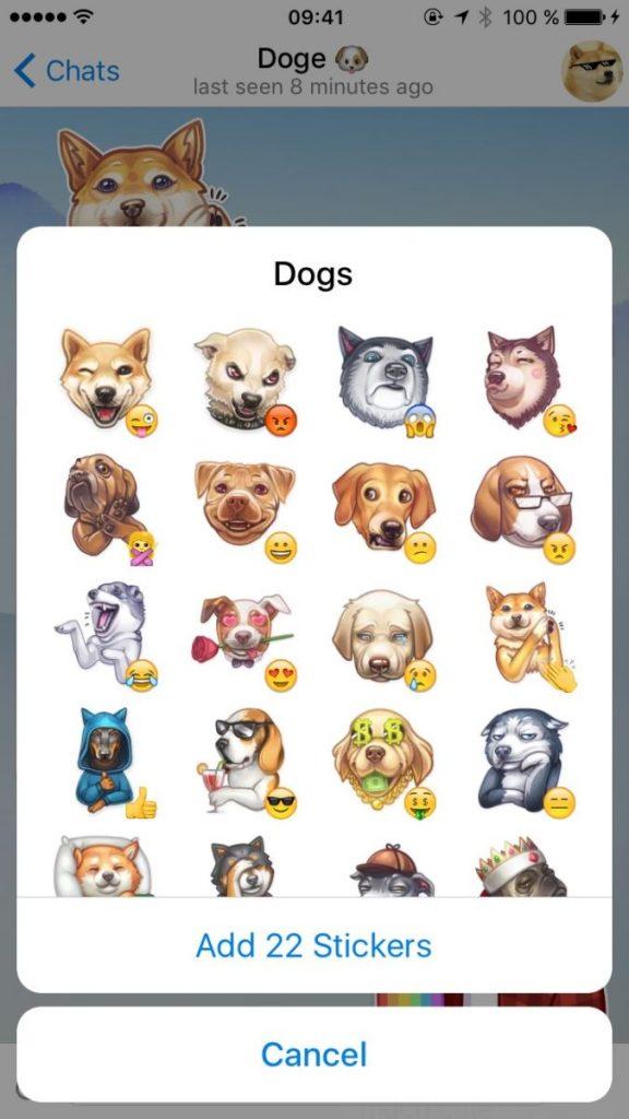 پیش نمایش استیکرها در تلگرام