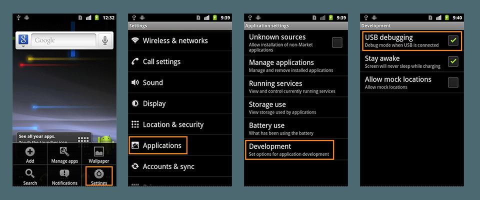 فعال کردن USB Debugging اندروید 2.3