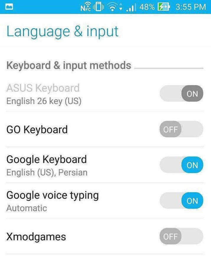 تغییر کیبورد اندروید change keyboard