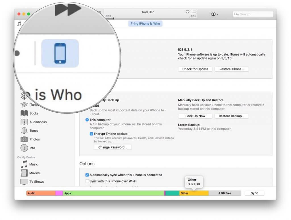 حذف فایلهای اضافی آیفون remove iphone others files