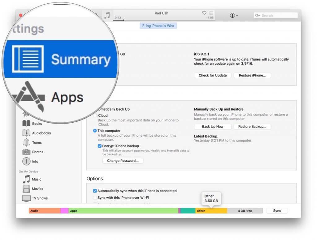 حذف فایلهای اضافی آیفون remove iphone other files