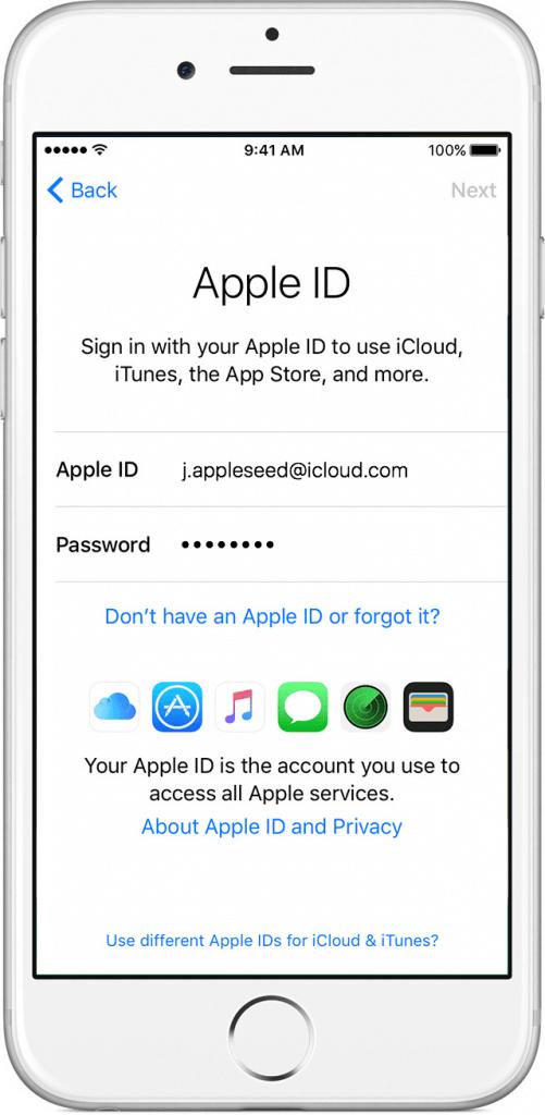 استفاده از اپل آیدی