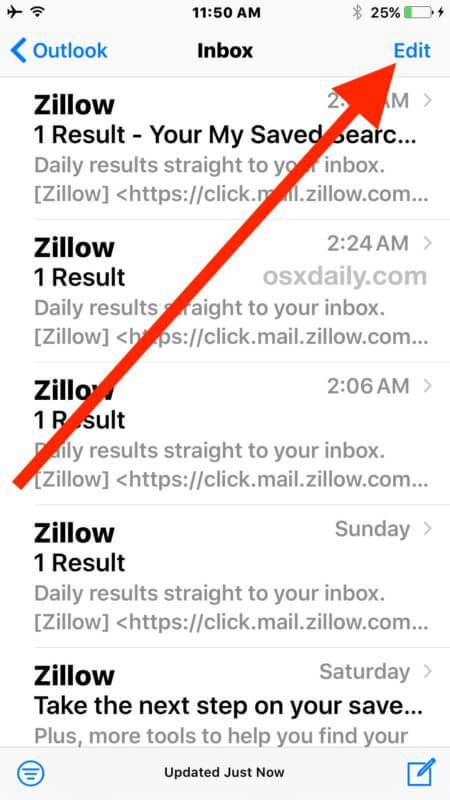 حذف تمام ایمیل ها در آی او اس 10