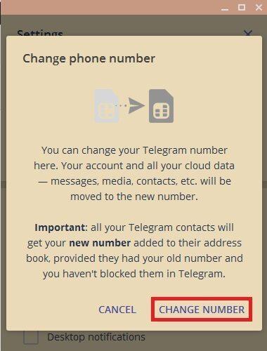 گزینه change number در نسخه دسکتاپ تلگرام