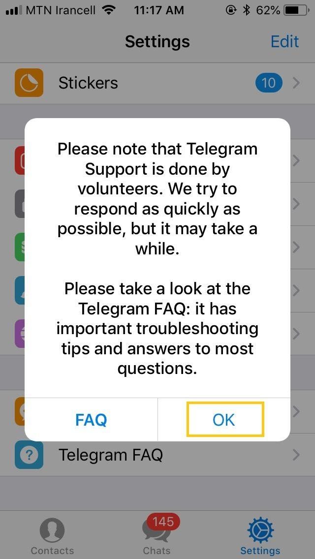 تماس با پشتیبانی تلگرام