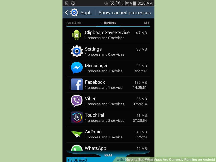 اپلیکیشنهای اجرایی پس زمینه اندروید android running apps