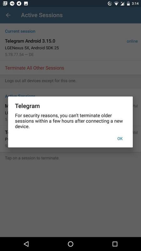 مشکل حذف دیوایس در Active Sessions تلگرام