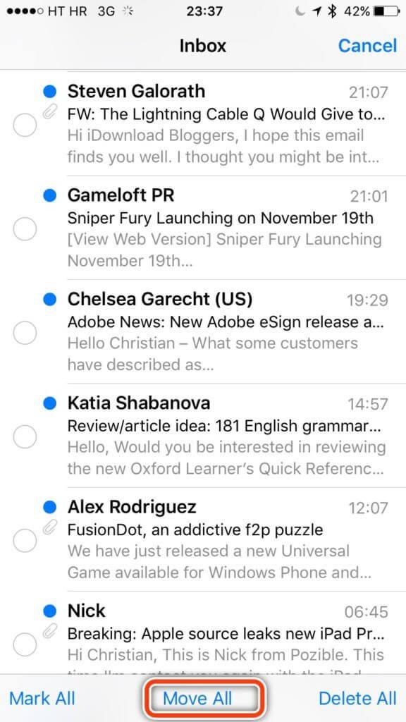 حذف سریع تمام ایمیل ها در آیفون