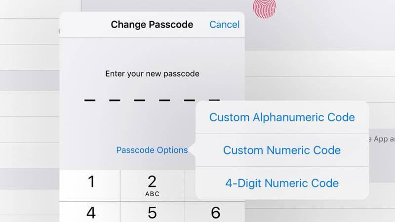 تبدیل کردن رمز عبور آیفون از شش رقمی به چهار رقمی