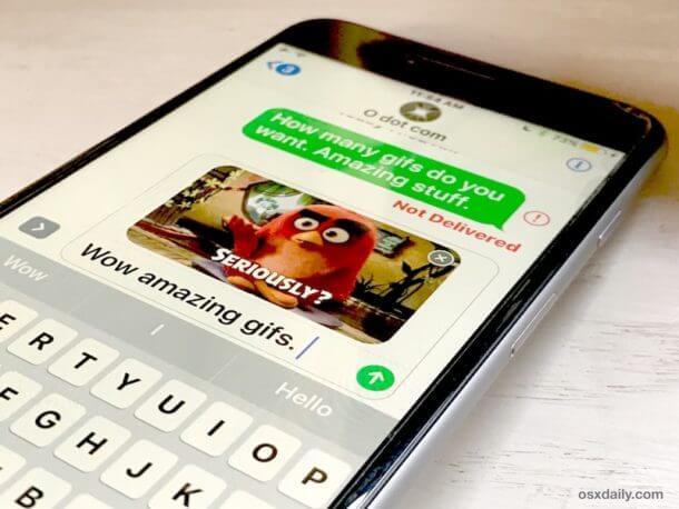 ارسال تصاویر گیف در برنامه پیامک آیفون