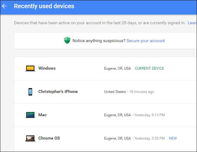 دستگاه های متصل به اکانت گوگل