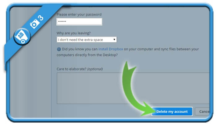 حذف اکانت Dropbox (دراپ باکس)