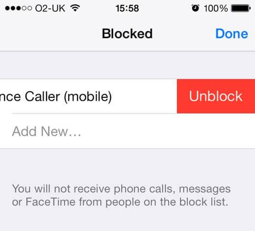 بلاک کردن شماره تلفن در آیفون