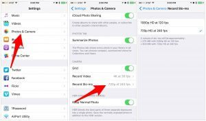 تنظیمات ویدئوی اسلوموشن در آیفون 6 iphone slo-mo videos