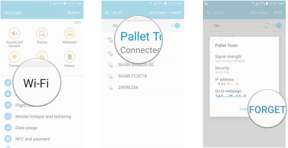 اتصال به وای فای در گوشی گلکسی اس 7