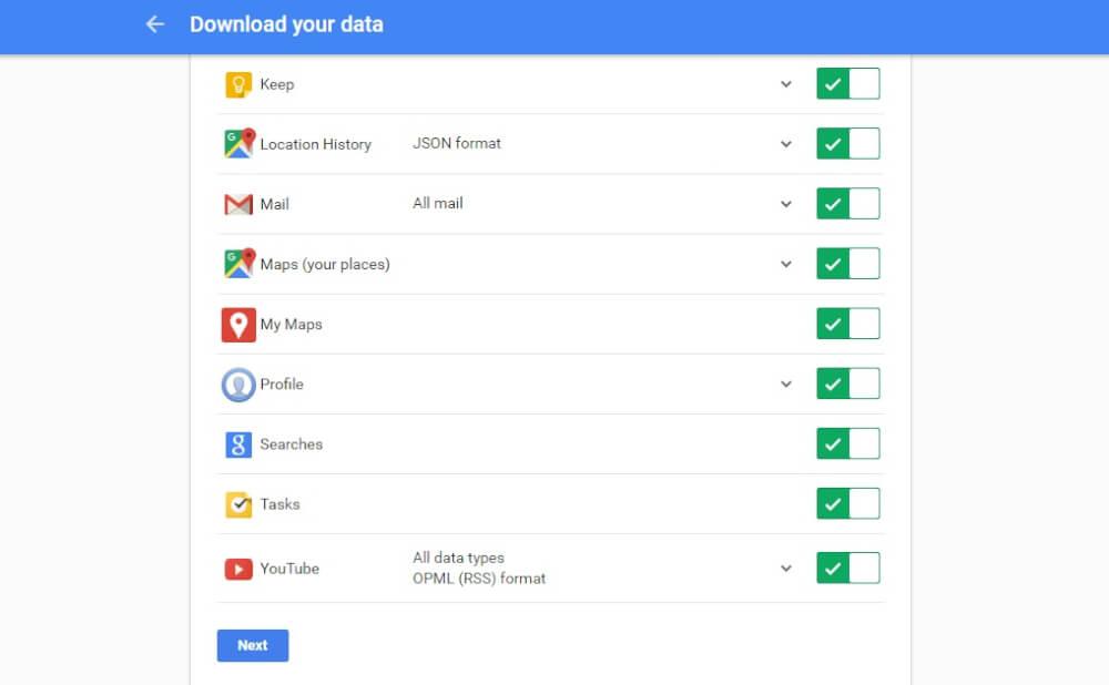 دانلود تمام اطلاعات اکانت گوگل
