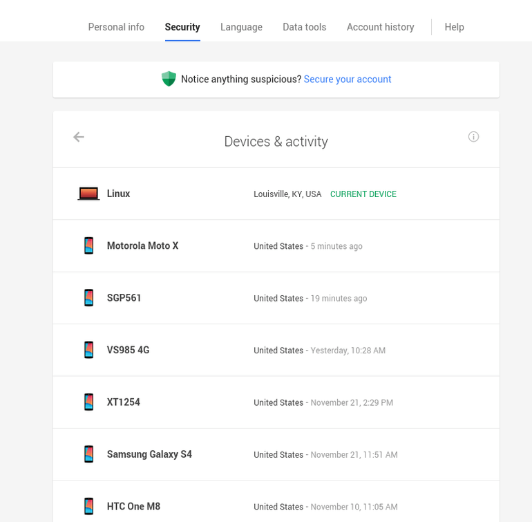 دستگاه های در تعامل با اکانت گوگل