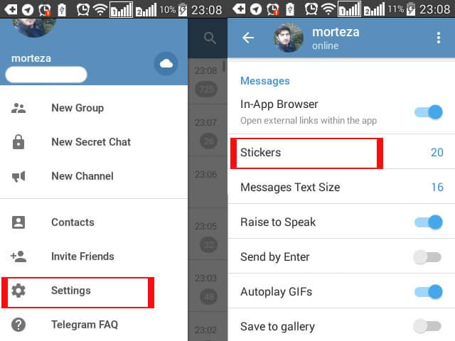 حذف استیکر تلگرام