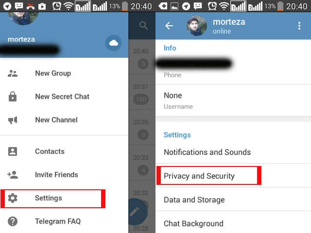 رمز عبور برای تلگرام
