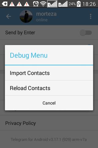 همگام سازی مخاطبین در تلگرام اندروید