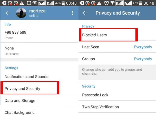 بلاک کردن مخاطب و ربات در تلگرام اندروید