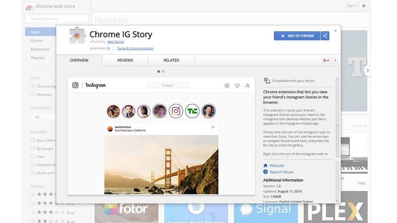 Image result for مشاهده استوری اینستاگرام در کامپیوتر با Chrome IG Story
