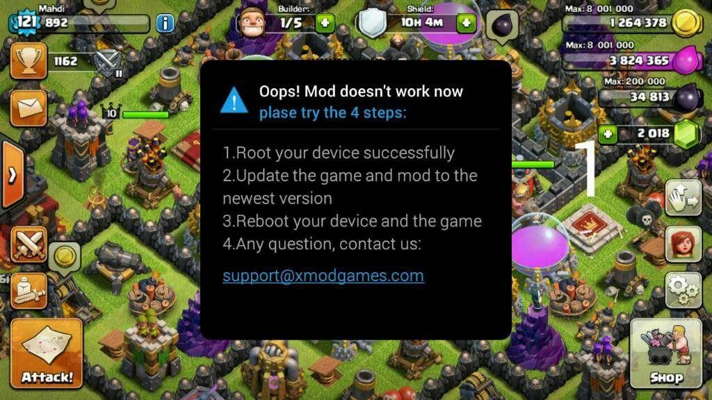 ارور Oops! Mod doesn't work now
