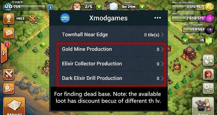 پیدا کردن بیس های مرده کلش با xmodgames