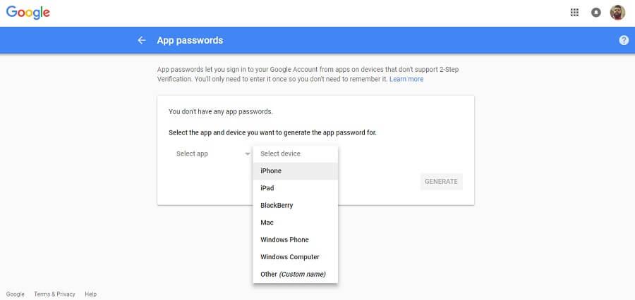 قابلیت App Password گوگل