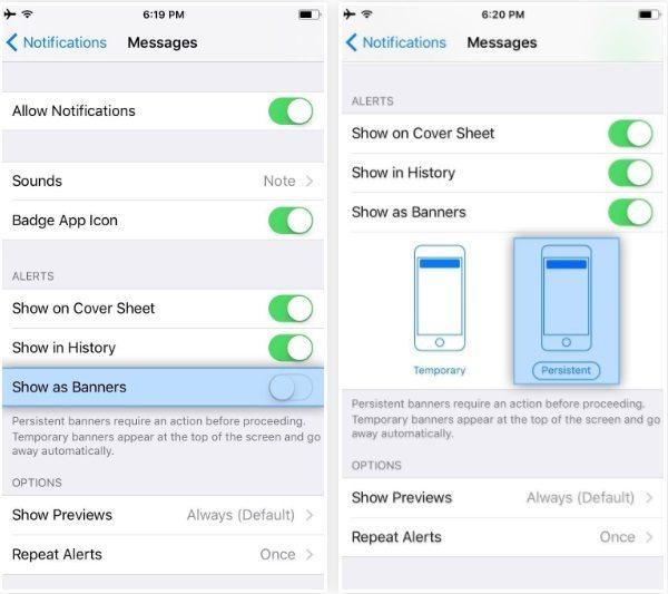 غیر فعال کردن حالت ناپدید شدن خودکار اعلان برنامه ها در iOS 11