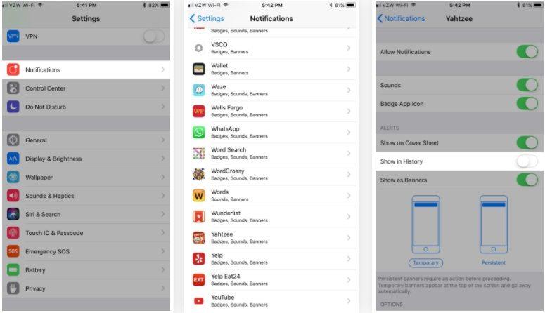 ترفند iOS 11: جلوگیری از نمایش اعلان برنامه در Cover Sheet