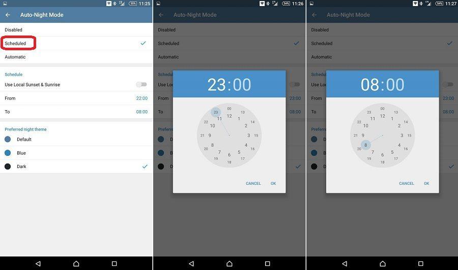 آموزش تنظیم تغییر خودکار تم تلگرام (Auto Night Mode)