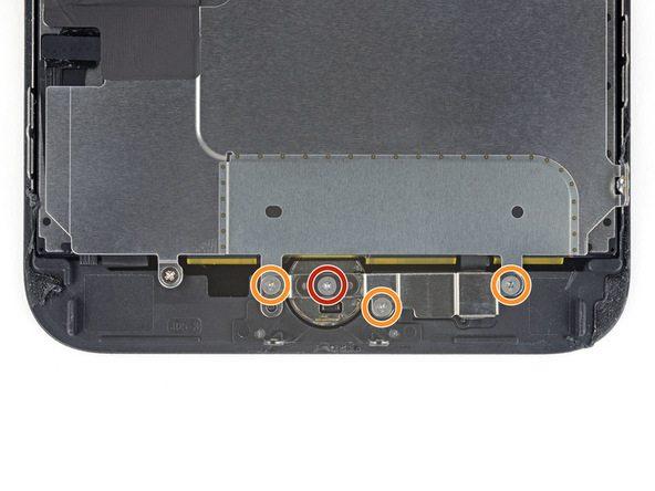پیچ 1.1 میلیمتری که در عکس با رنگ قرمز نمایش داده شدهاند را از روی پنل روی (نمایشگر) آیفون 7 پلاس تعمیری باز کنید.