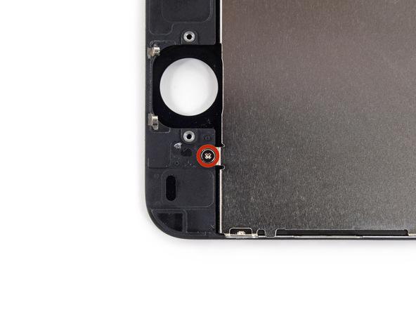 دو پیچ 1.6 میلیمتری که در عکس ها با رنگ قرمز و نارنجی مشخص شدهاند را از بخش فوقانی و زیرین درب جلوی آیفون 5 سی (iPhone 5C) تعمیری باز کنید.