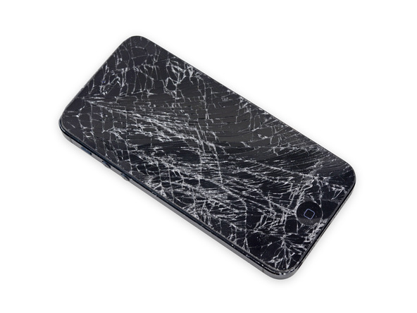 اگر صفحه نمایش آیفون 5 تعمیری شکسته یا ترک های روی آن وجود دارد، قبل از شروع تعمیر حتما روی آن را با چند لایه چسب نواری پهن بپوشانید.