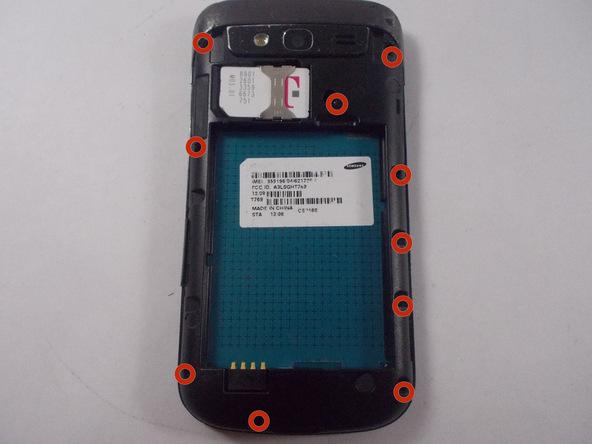 ده پیچ نگهدارنده فریم میانی Galaxy S Blaze تعمیری که در عکس با رنگ قرمز مشخص شده را باز کنید.