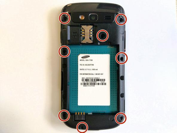 هشت پیچ 4 میلیمتری نگهدارنده فریم میانی Galaxy S Blaze تعمیری که در عکس با رنگ قرمز مشخص شدهاند را با پیچ گوشتی فیلیپس #00 باز کنید.