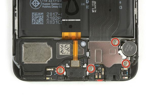 چهار پیچی که در عکس با رنگ قرمز مشخص شدهاند را با پیچ گوشتی فیلیپس #000 از ز لبه زیرین قاب گوشی باز کنید.