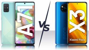 مقایسهٔ گوشی Poco X3 و گلکسی A71 سامسونگ